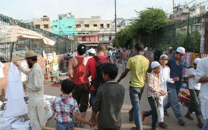 Bazar cercano a la mezquita de Jama Masjid